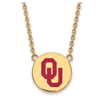 NCAA 14k Gold Plated Silver Oklahoma Lg. Enamel Disc Pendant Necklace