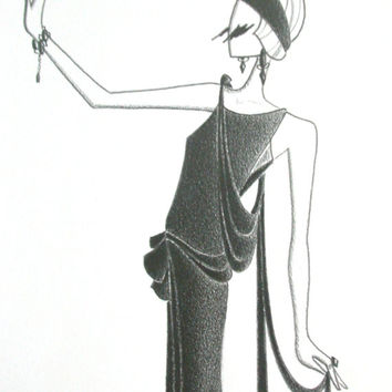 Fashion art illustration flapper Deco original pencil drawing