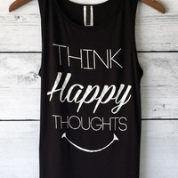 Think Happy Thoughts Graphic Tank Top
