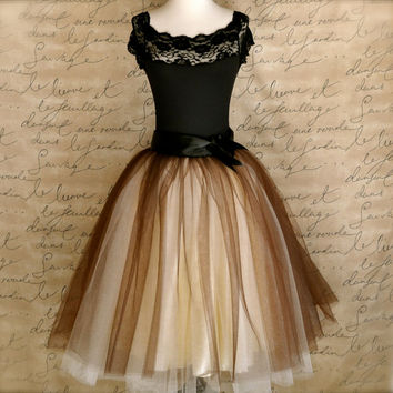 Brown and ivory tulle skirt for women. Wide black satin ribbon waist. Tutus Chic classic women's tutu skirt.