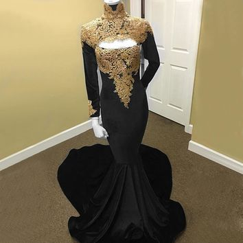 Elegant Black Velvet Mermaid Evening Dress With Gold Lace High N a83cd8dd7bf3
