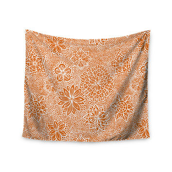 "Julia Grifol ""Garden Flowers"" Orange Floral Wall Tapestry"