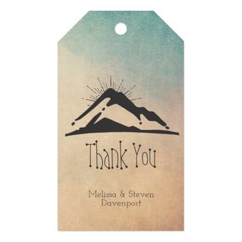 Mountain with Sunrays Thank You Gift Tags