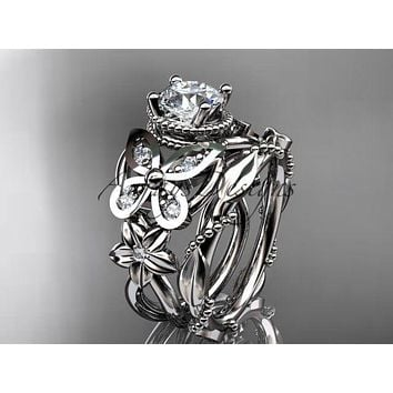 Platinum diamond floral, butterfly wedding ring, engagement set ADLR136S