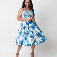 Preorder - Iconic by UV Plus Size Blue Watercolor Floral June Swing Dress