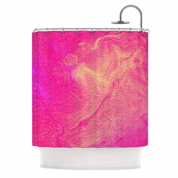 "Ashley Rice ""AC1"" Pink Watercolor Shower Curtain"