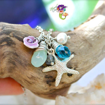 Starfish Necklace with purple seashell from Hawaii, Hawaiian Jewelry for Beach Brides