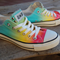 Rainbow Studded Converse Allstars - Hard to Find Rare Chucks - Lo Tops