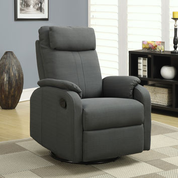 Recliner - Swivel Rocker / Charcoal Grey Linen Fabric
