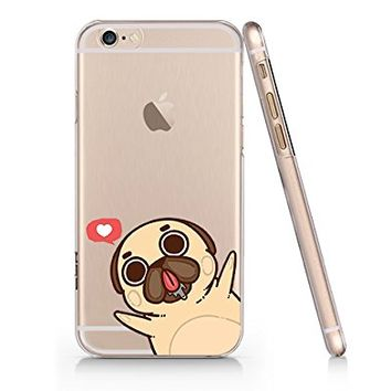 Cute Pug Dog Slim Iphone 6 6s Case, Clear Iphone Hard Cover Case For Apple Iphone 6 6s Emerishop (VAE1132.6sl)