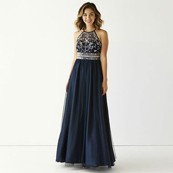 Be Smart Spaghetti Strap Embellished Halter Ball Gown