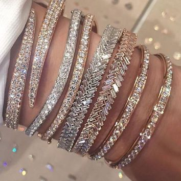 Genuine 925 Sterling Silver/ Rose Gold With Full Cubic Zirconia Snake Shape Adjustable Bangles