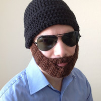 Handmade Crochet Beard Hat in Black beanie hat with detachable Brown beard santa claus,for men, women, kids, or babies all sizes