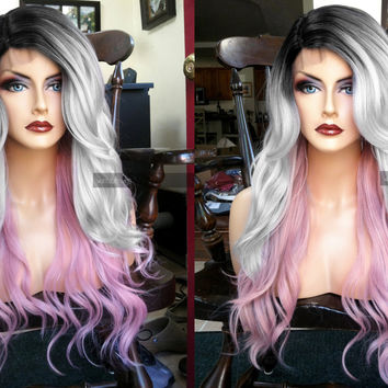 USA // Heat O.K. Ombre Pink Gray Silver FULL WIG w/ Lace Front & Part and Curly Wavy Grey Dark Roots