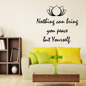 Lotus Wall Decals Quotes Nothing Can Bring You Peace But Yourself Flower Yoga Vinyl Decal Sticker Living Room Interior Design Decor KG749