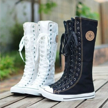 PUNK ROCK Canvas Boot Women Gril Sneaker Flat Tall Lace Up Knee High Zip Shoes [8238483015]