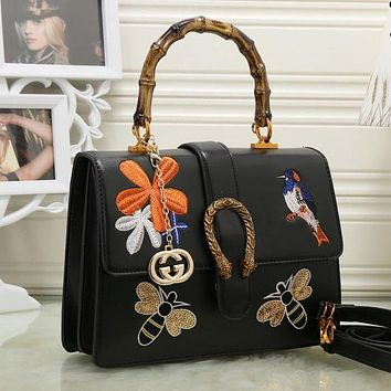 DCCKJG8 Gucci Women Leather Embroidery Satchel Handbag Shoulder Bag