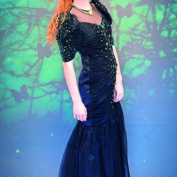 My mermaid vintage organza black dress / 80s trophy maxi gown / emerald jewel embellished / posh goth glamour Stevie Nicks fairy frock