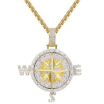 Custom Navigation Compass Silver Iced Out Pendant Chain