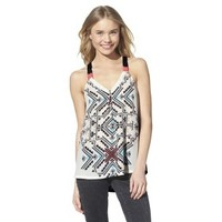 Junior's Knit to Woven Printed Tank