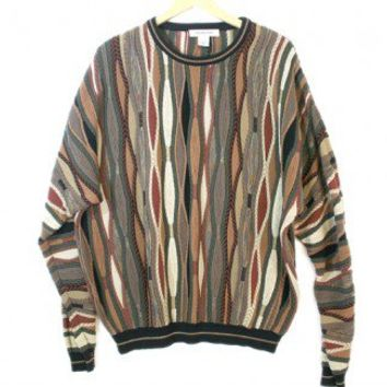 Textured Olive and Browns Cosby Style Tacky Ugly Sweater Men's Size 2XL (XXL) $32 - The Ugly Sweater Shop