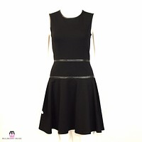Ponte Knit and Leather Dress