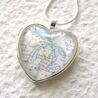 World Traveler Heart Shaped Map Necklace - Michigan featuring Detroit, The Great Lakes, Grand Rapids, and Lansing