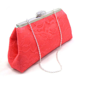 Calypso Coral and Mint Bridal Clutch