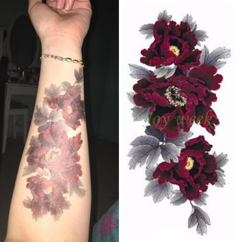 f4a7211f92040 Waterproof Temporary Tattoo Sticker dark red peony flower women'. 1🦄, Temp  Tattoos