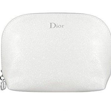 Dior Fashion Pearl Textured Glitter Silver White Cosmetics Bag