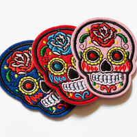 Iron On Patch - Sugar Skull Patch - Sew on Patch - Embroidered Patch - Day of the Dead Skull Patch - Skull Patches - Blue Skull Yellow Skull