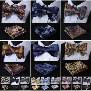 Paisley Striped Silk Men Butterfly Self Bow Tie Pocket Square Handkerchief