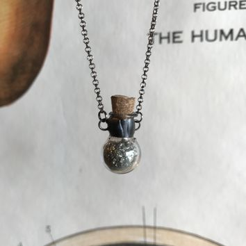 Tiny Pyrite Vial Necklace
