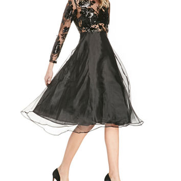 Sequins Embroidered Mesh Overlay Long Sleeve A-Line Midi Dress