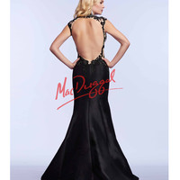 Black Embroidered Sheer Illusion Gown