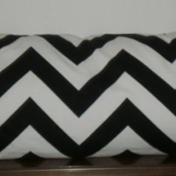 Decorative Body Pillow Cover FREE DOMESTIC SHIPPING -20 X 54 inch Black and White Chevron