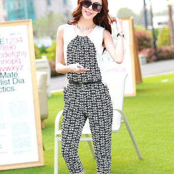 Fashion Plaid Jumpsuit Summer 2017 Sleeveless Checker 3 Quarter Capris Playsuit Rompers Women macacao feminino mono S54123