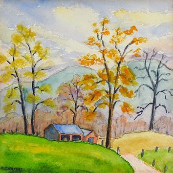 Small Mountain Farm Watercolor Painting