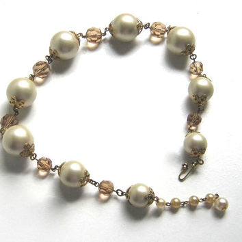Pearl Necklace, Marvella Choker Necklace, Chunky Bead Necklace, Bridal Necklace, Pearl Choker, Signed Vintage Jewelry, Accessories Women