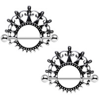 "1"" Dark Ornate Detail Princess Crown Barbell Nipple Shield Set"