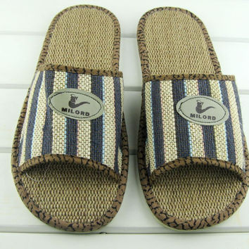 Couple cotton slippers fish head, flax slippers tendon at the end indoor, indoor summer bow sandals and slippers