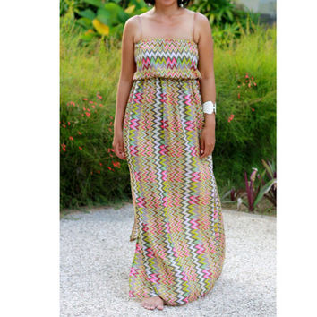 Chevron prints sundress, womens maxi dress, everyday wear, beach outfit