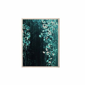 """Ebi Emporium """"THE DARK GARDEN 3"""" Teal Black Abstract Floral Painting Mixed Media KESS Naturals Canvas (Frame not Included)"""
