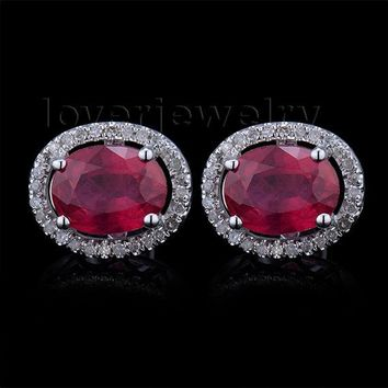 14KT White Gold Ruby Engagement Stud Halo Colorless Diamond Earrings