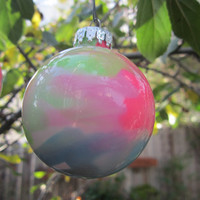Clearance Sale! Glass Ornament, Hot Pink, Green and Aqua Blue, Hand painted glass, glow in the dark, Green Glow Pigment
