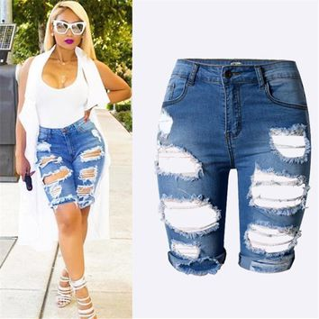 S-XXXL 2016 Summer New Slim Skinny Ripped Hole Burrs Cut Off High Waist Knee Length Women Denim Hot Shorts Jeans Plus Size