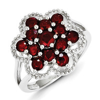 Sterling Silver Rhodium-plated Ruby Flower Ring