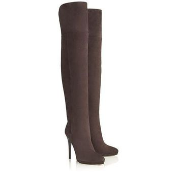 Jimmy Choo Women Fashion Leather High Boots Stiletto Shoes-3
