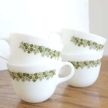 Pyrex Corning Milk Glass Crazy Daisy Coffee Cup Set of 4