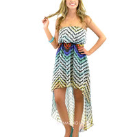 Next Level Multicolored Abstract Strapless Dress